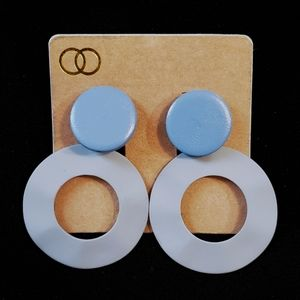 Light Blue Disk & Gray Circle Cut-Out Earrings